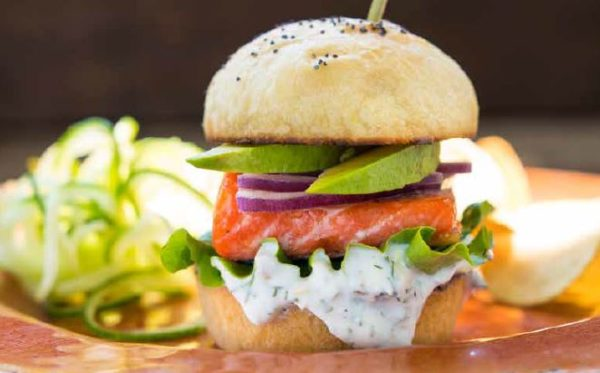 Smoky Glazed Salmon Sliders with Yogurt-Caper Dill Sauce