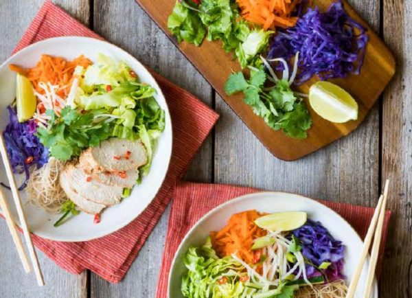 Spicy Chicken Noodle Vegetable Bowls