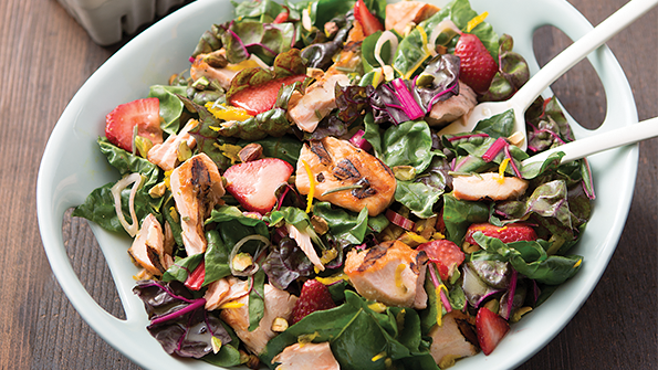 Rainbow Chard Berry Salad With Salmon Delicious Living