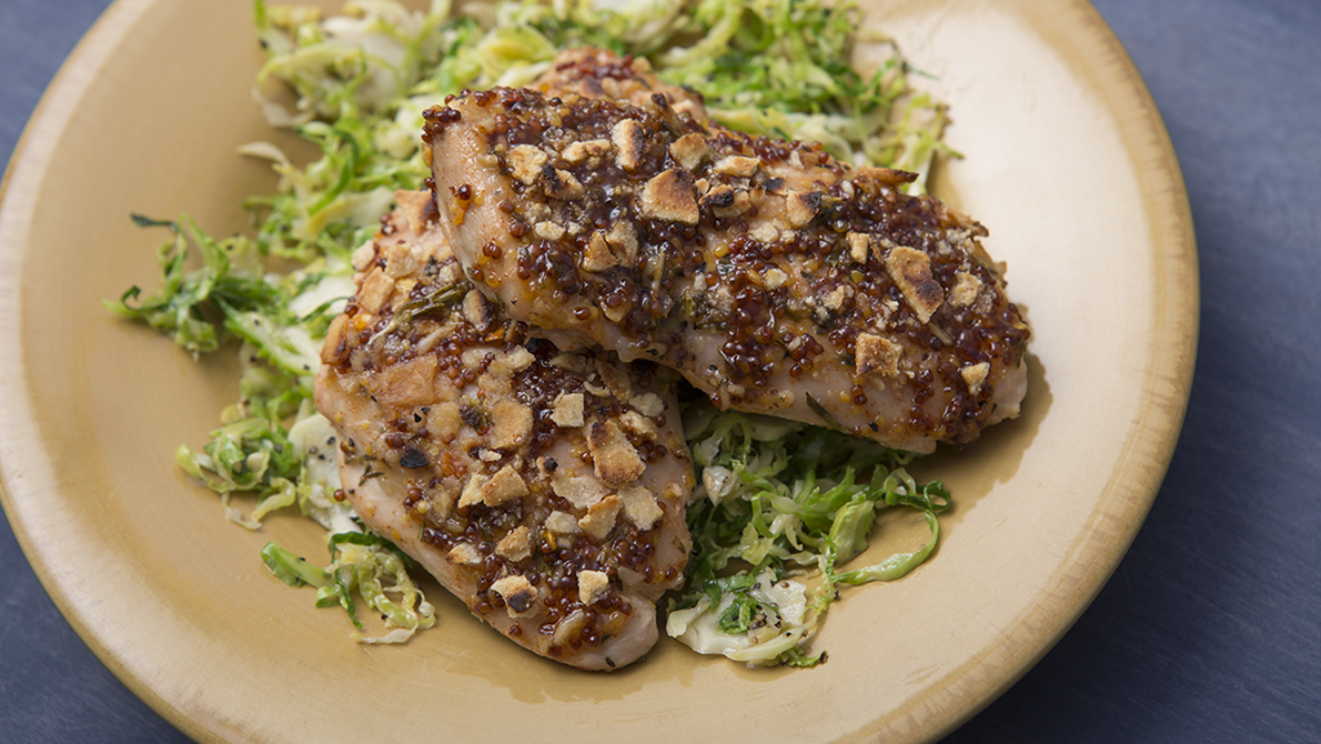 Paleo Cracker-Crusted Chicken with Shaved Brussels Sprouts