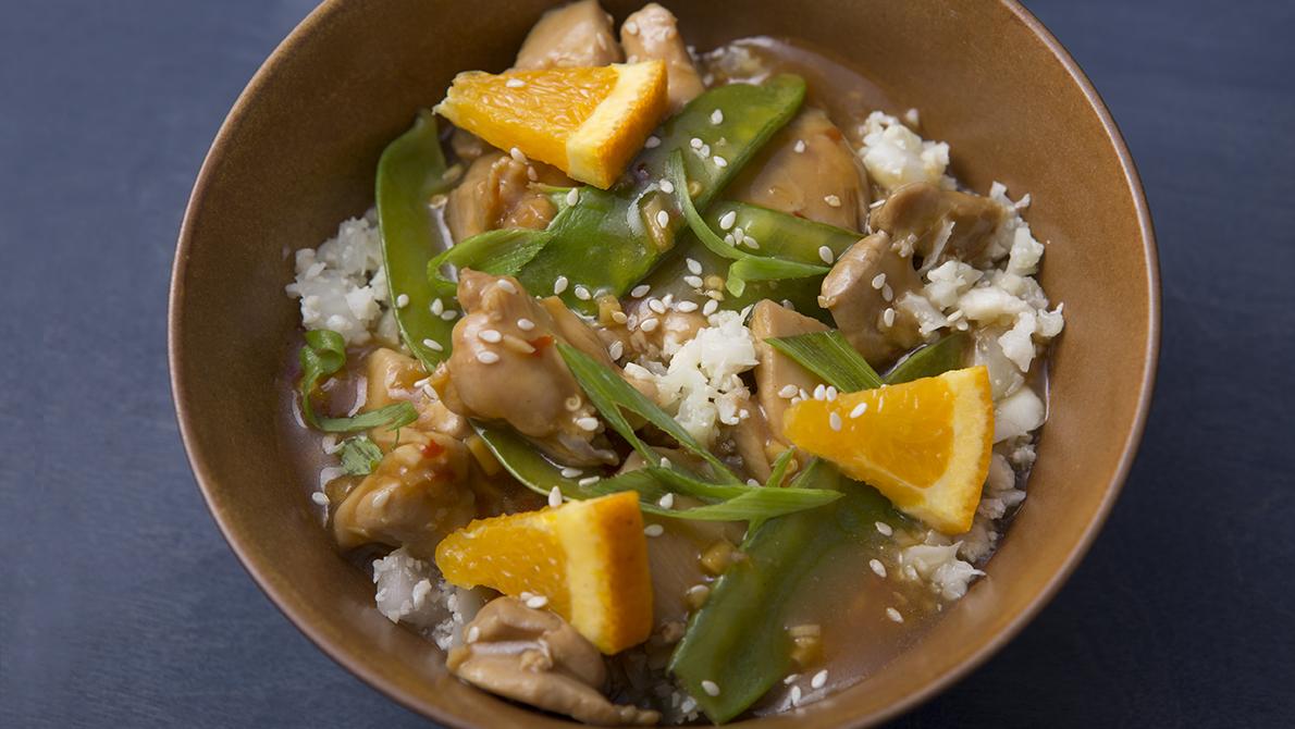 Sesame-Orange-Ginger Chicken Stir-Fry with Snow Peas