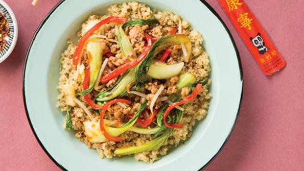 Sesame Ginger Bok Choy and Pork over Quinoa