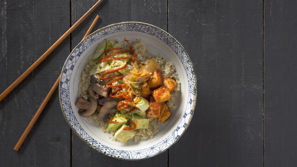 Spicy Korean Quinoa, Veggie & Tofu Bowls