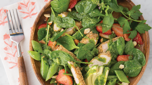 Sage-Breaded Chicken, Spinach and Snap Pea Salad